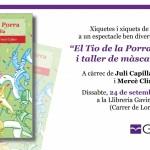 Contacontes i taller de màscares i de titelles d'El Tio de la Porra a la Llibreria Gavina de Gandia (dissabte, 24 de setembre, a les 18.30h)