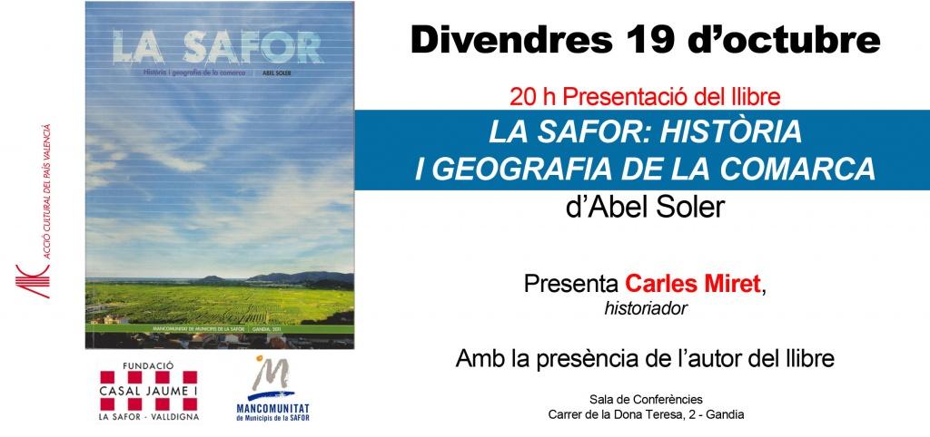 Presentació de 'La Safor. Història i geografia de la comarca', d'Abel Soler