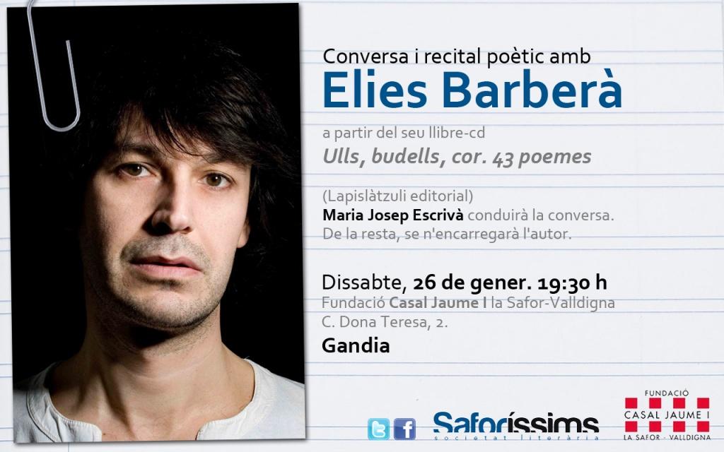 Conversa i recital poètic amb Elies Barberà