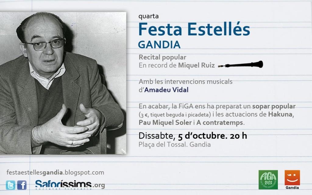 La IV Festa Estellés Gandia recorda Miquel Ruiz