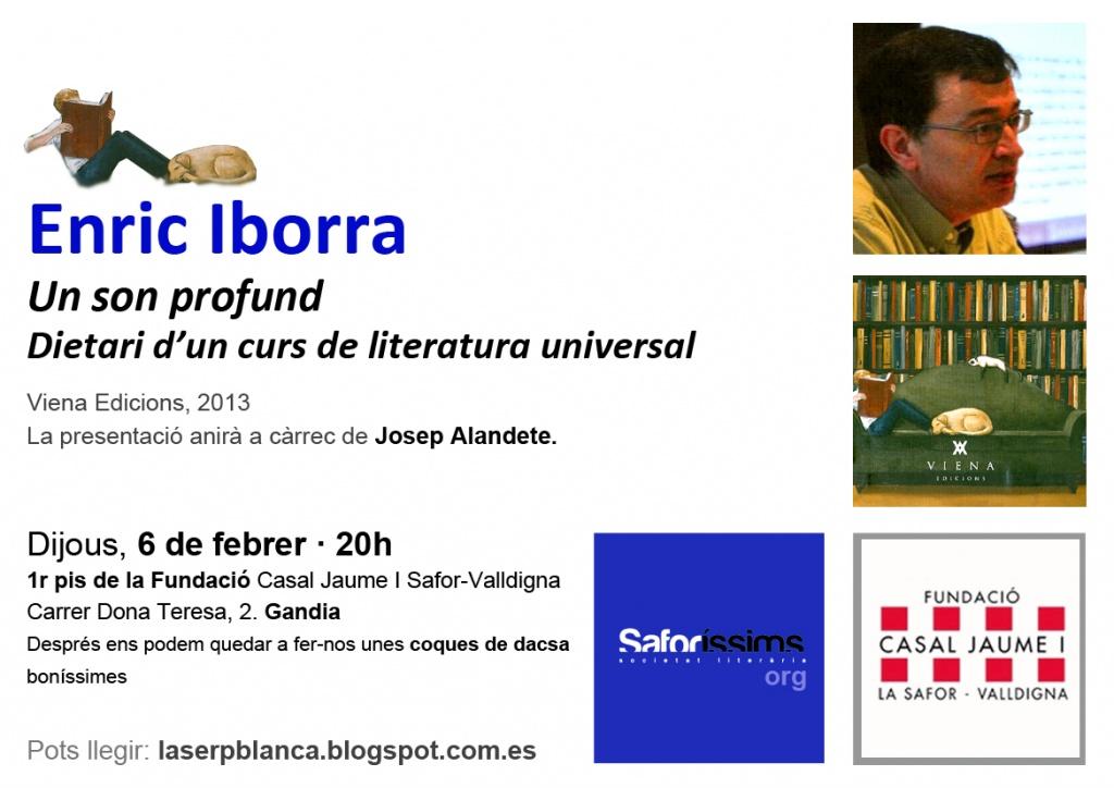 Enric Iborra presenta 'Un son profund. Dietari d'un curs de literatura universal'
