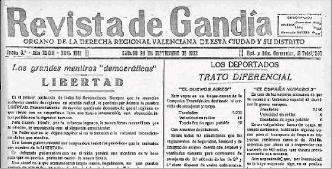 Capçalera de 'Revista de Gandia', on escrivia.