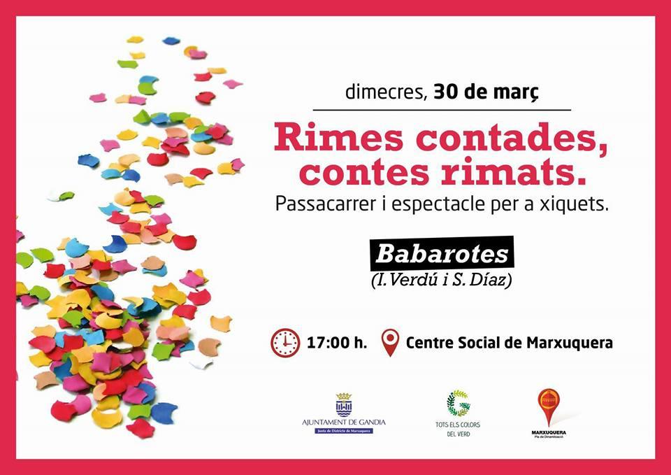 Passacarrer i espectacle per a la xicalla a Marxuquera (30 de març, dimecres, a les 17.00 h)