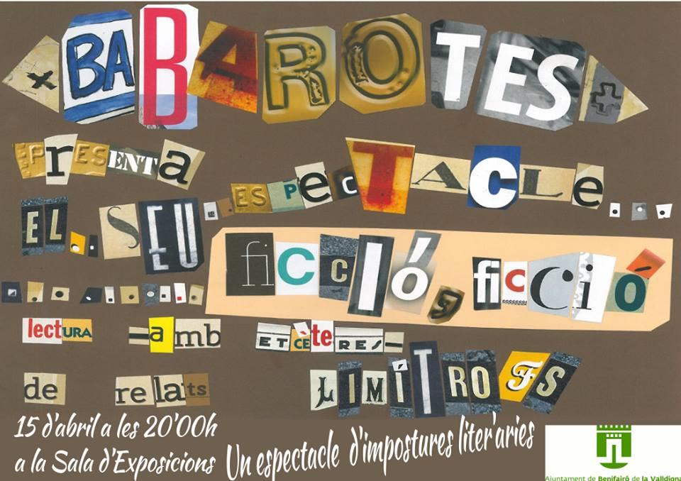 Babarotes, espectacle literari a Benifairó de la Valldigna (15 d'abril)