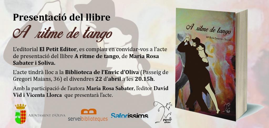 """Presentació del poemari """"A ritme de tango"""", de Rosa Sabater (22 d'abril, 20.15 h, a la Biblioteca de l'Envic d'Oliva)"""