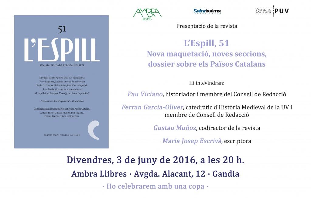 Presentació de la revista L'Espill 51 (divendres 3 de juny, 20.00h, a Ambra, Gandia)