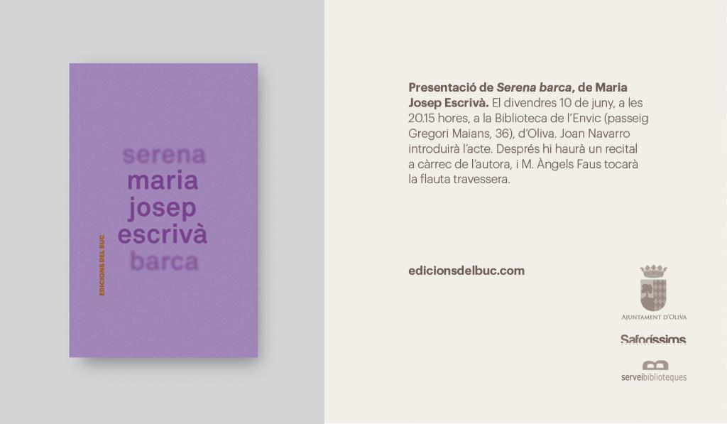 """Presentació del llibre """"Serena barca"""", de Maria Josep Escrivà (divendres, 10 de juny, 20.15 h,Biblioteca de l'Envic d'Oliva)"""