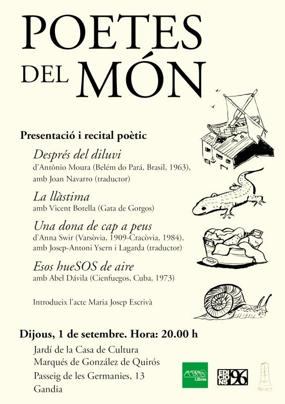 Poetes del món: presentació i recital poètic (dijous, 1 de setembre, 20.00 h, Jardí de la Casa de Cultura Marqués de González de Quirós)
