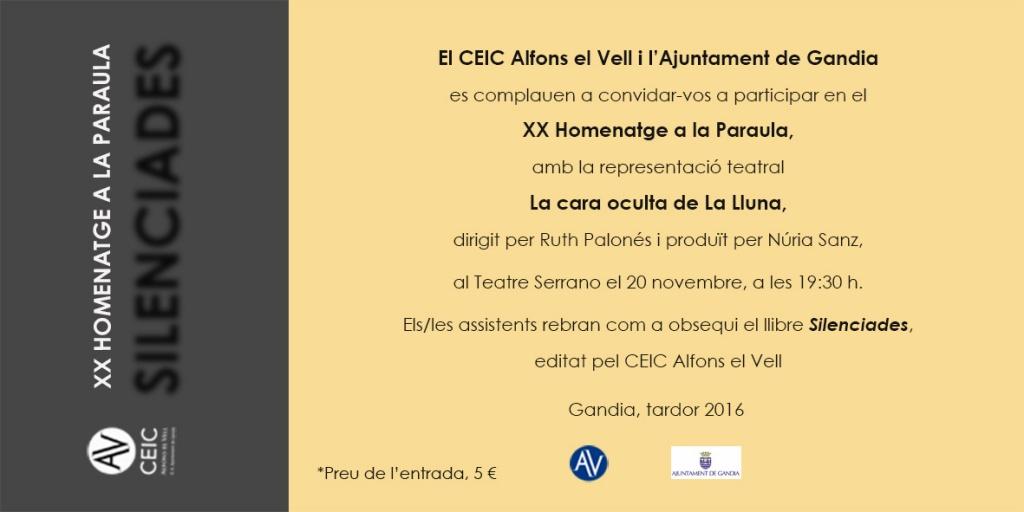 XX Homenatge a la Paraula (Teatre Serrano de Gandia, diumenge 20 de novembre, a les 19.30 h)
