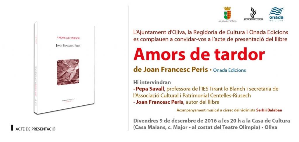 Joan Francesc Peris presenta poemari a Oliva (divendres, 9 de desembre, a les 20 h, Casa de Cultura)