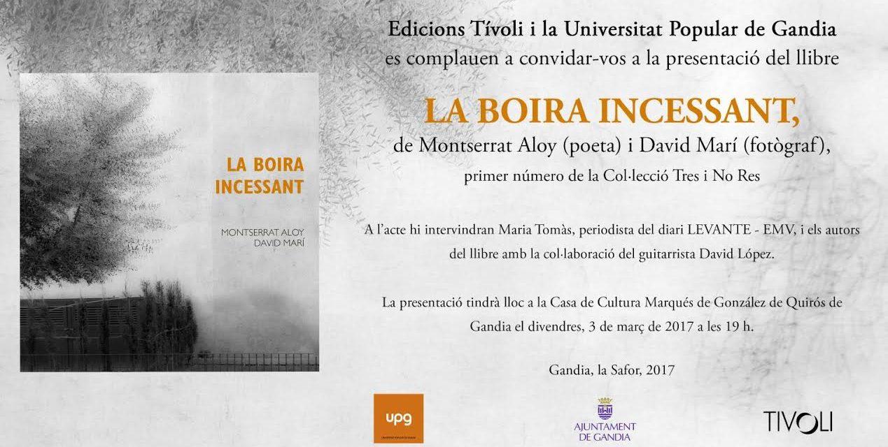 """Presentació del llibre """"La boira incessant"""" (Casa de la Cultura Marqués González de Quirós, Gandia, 3 de març, a les 19.00 h)"""