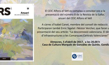 Presentació de la Revista de la Safor (Casa de la Marquesa de Gandia, 5 d'abril, 20.00 h)