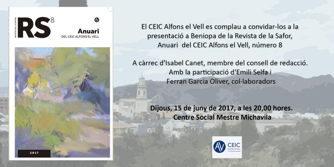Presentació a Beniopa del número 8 de la Revista de la Safor (dijous 15 de juny, 20.00 h, Centre Social Mestre Michavila)
