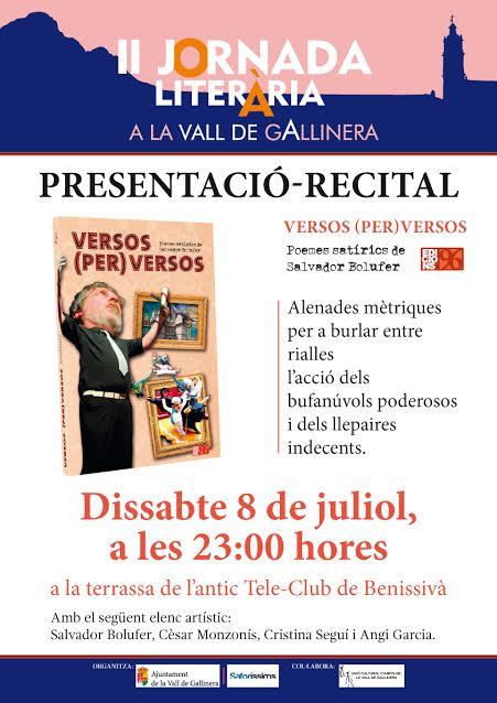 II JORNADA LITERÀRIA A LA VALL DE GALLINERA (dissabte, 8 de juliol, a Benissivà, a les 23.00 h)