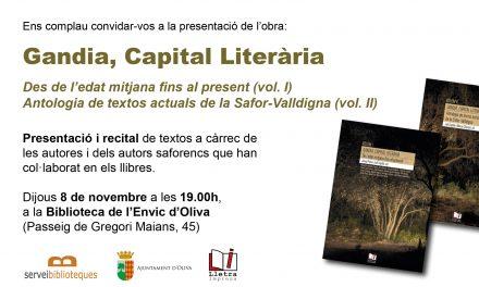 """Presentació i recital de textos a propòsit dels llibres """"Gandia, Capital Literària"""""""