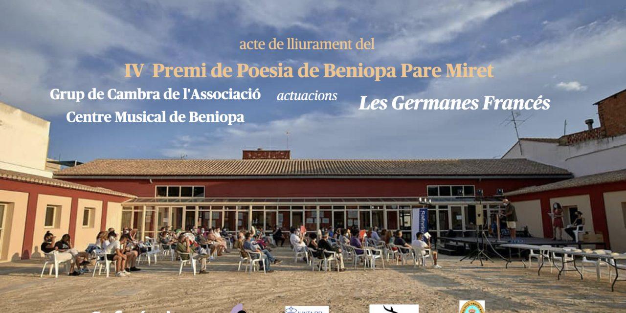 'IV Premi de Poesia de Beniopa Pare Miret' a Joaquim Cano